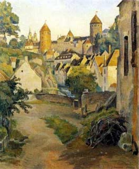 Bernard Emile View of Castle in Semur