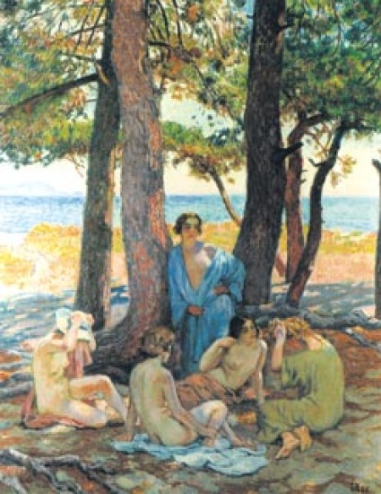Rysselberghe Theo Baigneuses sous les pins,