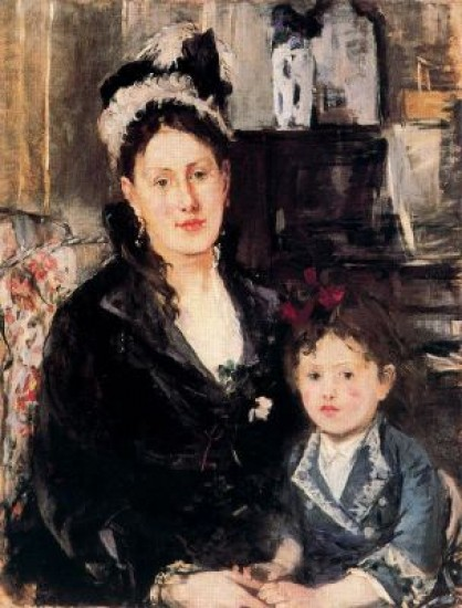 Morisot Berthe Portrait of Mme Boursier and her Daughter.j