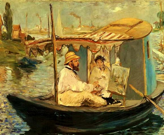 Manet Edouard   Claude Monet Working on his Boat in Argenteuil,