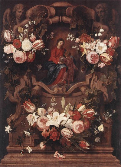 Seghers Daniel   Floral Wreath with Madonna and Child