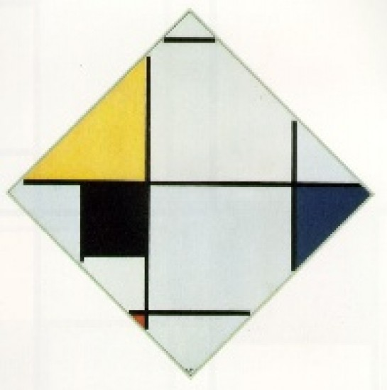 Mondrian, Piet Lozenge Composition with Yellow, Black, Blue, Red, and Gray