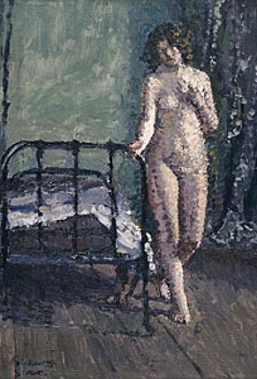Sickert Richard standing by an iron bedstead 1909