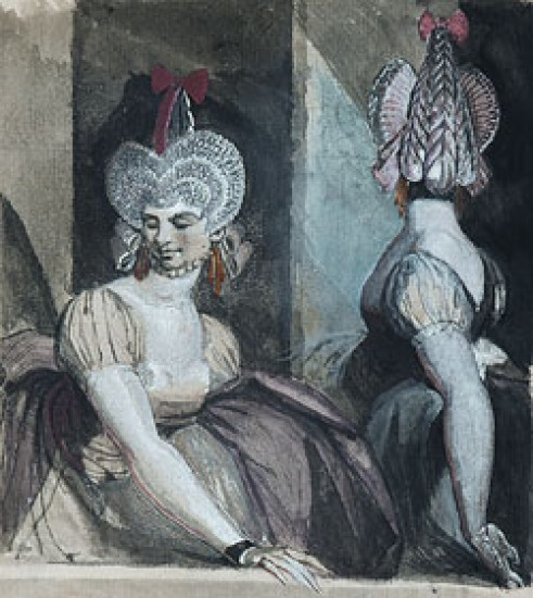Fuseli Henry Two Courtesans with Fantastic Hairstyles and Hats